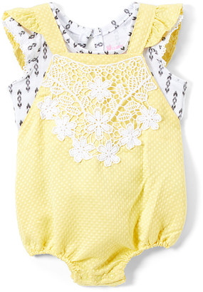 Nannette Kids Girls' Short Overalls YELLO - Yellow Bubble Romper & White Ruffle Tee - Newborn & Infant