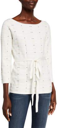 Neiman Marcus Patterned Boat-Neck Sweater w/ Detachable Belt