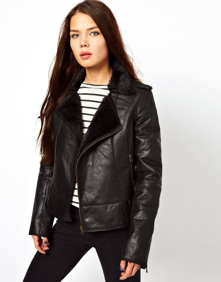 Cote By Improvd Lou Leather Jacket With Faux Fur Collar