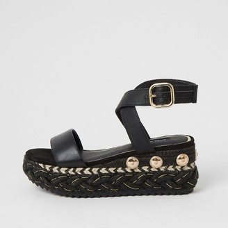 River Island Black plaited espadrille flatform sandals