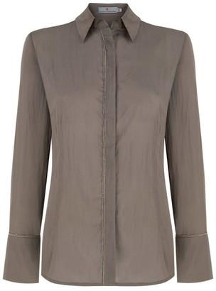 Klaudia Karamandi Stripe Modal-Silk Taupe Blouse