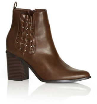City Chic Joelle Ankle Boot - chocolate