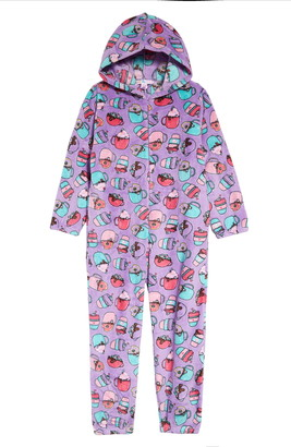 Candy Pink Kids' Hot Chocolate Hooded One-Piece Pajamas