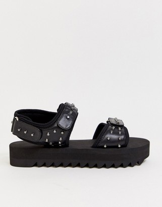 Asos Design DESIGN sandals in black with chunky sole and studs