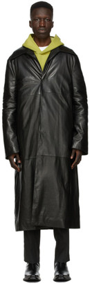 Acne Studios Black Leather Insulated Coat