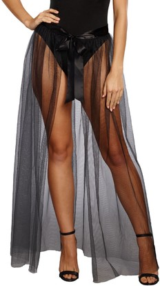 Dreamgirl Women's Sheer Tie Front Skirt