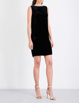 Mo&Co. Draped open-back velvet mini dress