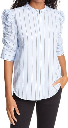 Frame Shirred Sleeve Stripe Top