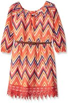 My Michelle Girls' 3/4 Sleeve Printed Chiffon Tie Front Peasant Dress