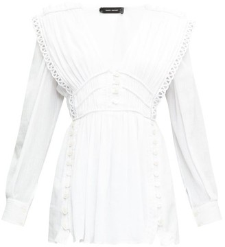 Isabel Marant Yaxo Lace-trimmed Plisse Mini Dress - Womens - White