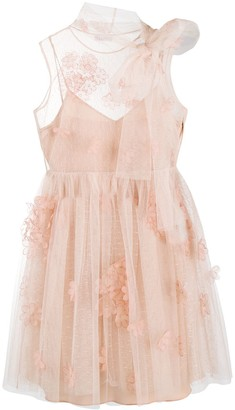 RED Valentino Flower Applique Tulle Mini Dress