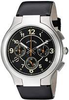 Philip Stein Teslar Mens Black Chronograph watch with Black Italian Leather Strap