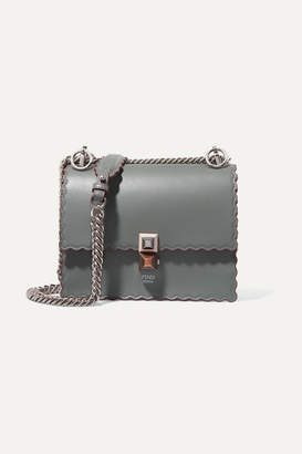 Fendi Kan I Mini Leather Shoulder Bag - Gray