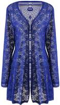 Meaneor Women's Long Sleeve Lace Crochet Knitted Sheer V Neck Open Front Cardigan XXL