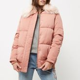 River Island Womens Petite pink puffer coat with faux fur trim