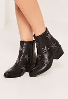 Missguided Black Star Studded Ankle Boots