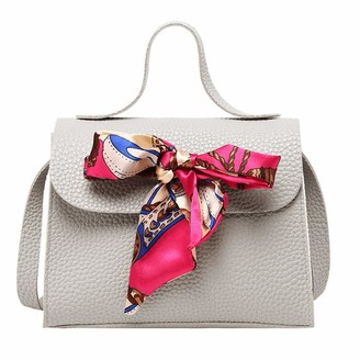 Sunday Bag Sunday77 Ladies Shoulders Bag Small Square Bag Cover Bow Buckle Letter Coin Purse Messenger Bag for Girls Gray
