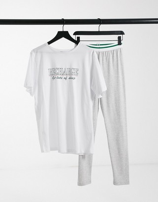 ASOS DESIGN recharge oversized tee and legging set in white and grey