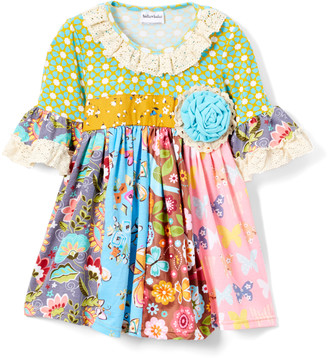 Lulu Ruffles By Tutu And Ruffles by Tutu and Girls' Casual Dresses - Mustard & Turquoise Floral & Polka Dot Lace-Trim A-Line Dress - Toddler & Girls