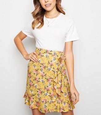 New Look Floral Ruffle Trim Mini Skirt