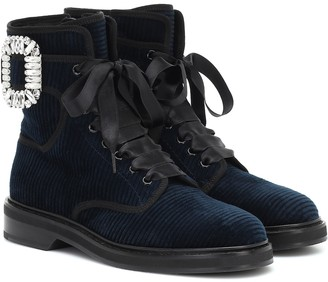 Roger Vivier Viv' Rangers Strass velvet ankle boots