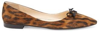Prada Leopard-Print Suede Ballet Flats