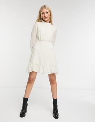 Vero Moda high-neck lace dress in cream