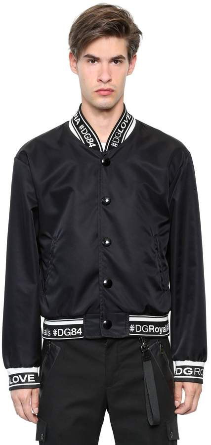 Dolce & Gabbana Hashtags Nylon Canvas Bomber Jacket