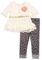 Little Lass Girl's Belted Lace Top and Leggings Set
