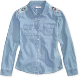 Roxy Embroidered Button-Front Cotton Denim Shirt, Big Girls (7-16)