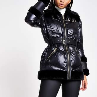 River Island Womens Black faux fur trim belted puffer coat