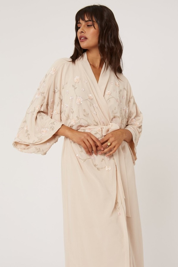 Thumbnail for your product : Little Mistress Malina Nude Floral Embellished Sequin Kimono