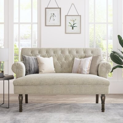 """Thumbnail for your product : Alcott Hill Blosser 58.27"""" Linen Rolled Arm Chesterfield Loveseat"""