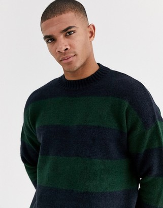 New Look bold stripe hairy crew neck jumper in navy
