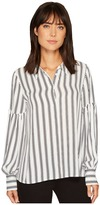 Vince Camuto Long Puff Sleeve Stripe Display Blouse Women's Blouse
