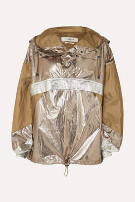 Etoile Isabel Marant Kizzy Paneled Metallic Shell Hooded Jacket - Army green