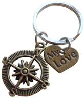 """JewelryEveryday """"My Love"""" Compass Keychain - I'd Be Lost Without You; Couples Keychain"""