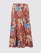 Marks and Spencer Floral Print Flocked A-Line Midi Skirt