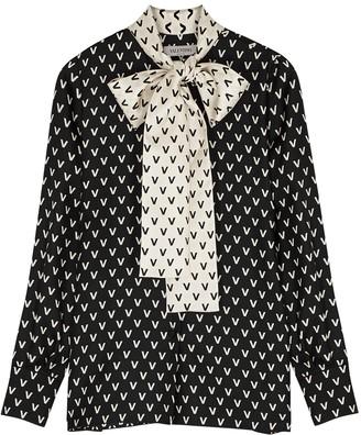 Valentino Monochrome Logo-print Silk-twill Blouse