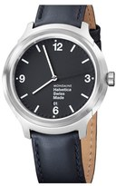 Mondaine 'Helvetica No.1 Bold' Round Leather Strap Watch, 43mm