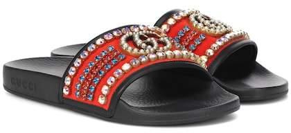1921723d02fe Gucci Black Crystal Embellished Women s Sandals - ShopStyle
