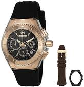 Technomarine Women's Quartz Watch with Black Dial Analogue Display and Black Silicone Strap TM-115033
