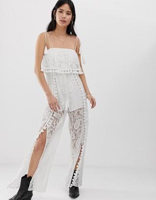 Kiss The Sky split leg jumpsuit in lace with tassle detail