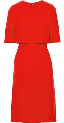 Oscar de la Renta Cape-effect Wool-blend Crepe Dress