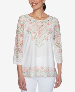 Alfred Dunner Petite Springtime In Paris Scroll-Yoke & Border Texture Top