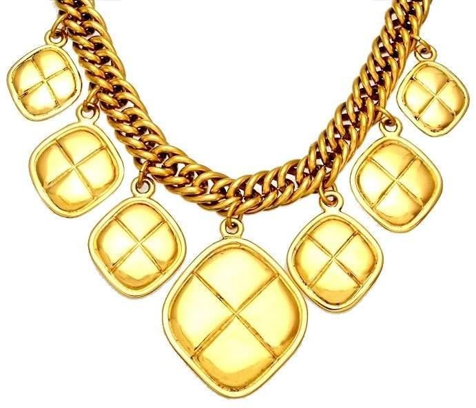 Chanel CC Logo Gold Tone Metal Chain Rhombus Necklace