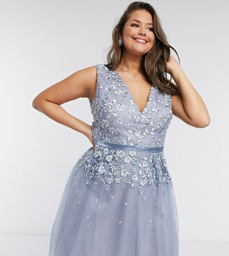 Chi Chi London Plus lace & tulle midi dress in blue