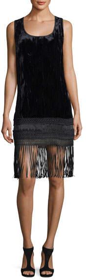 Andrew Gn Sleeveless Velvet Fringe-Trim Dress