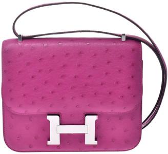 Hermes Rose Pourpre Ostrich Leather Palladium Hardware Mini Constance Bag