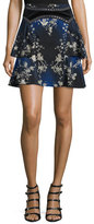 Roberto Cavalli Studded Printed Mini Skirt, Blue/Multi